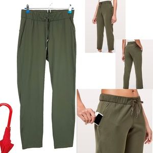 Lululemon On The Fly 7/8 Pants Dark Olive Sz 4